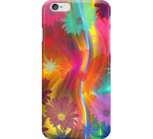 Whimsical flowers on an abstract background iPhone Case/Skin