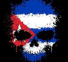 Chaotic Cuban Flag Splatter Skull by Jeff Bartels