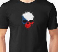Chaotic Czech Flag Splatter Skull Unisex T-Shirt