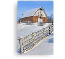 Snowy Brick Barn Canvas Print