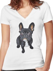 French Bulldog Women's Fitted V-Neck T-Shirt