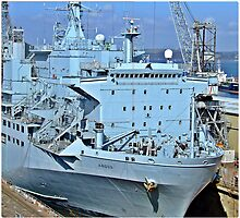 The Naval Ship Argus in Dry Dock at Falmout during a refit by Malcolm Chant