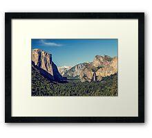 Blue vintage look to Yosemite National Park Entrance Framed Print