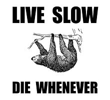 Live Slow Die Whenever Sloth by AmazingMart
