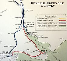 NEWRY, DUNDALK AND GREENORE 1920S RAILWAY MAP by TICKETSPLEASE