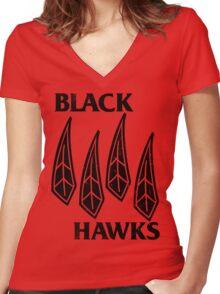 Blackhawks Flag Shirt Women's Fitted V-Neck T-Shirt