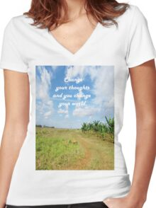 Change Your Thoughts  Women's Fitted V-Neck T-Shirt