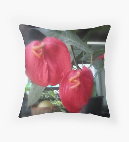 Flamingo Plant Throw Pillow