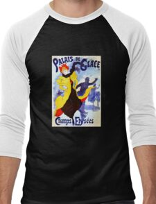 'Palais De Glace' by Jules Cheret (Reproduction) Men's Baseball ¾ T-Shirt