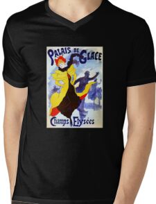 'Palais De Glace' by Jules Cheret (Reproduction) Mens V-Neck T-Shirt