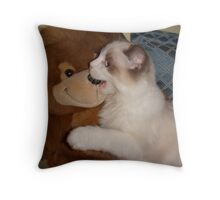 "Lily-Rose & her ""Punkinhead"" Bear Throw Pillow"