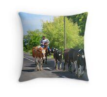 Farmer and cows Throw Pillow