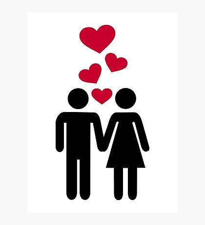 Couple red heart Photographic Print