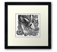 I Am the Rabbit - Dead Skull Head Rabbit with Roses Framed Print