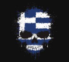 Chaotic Greek Flag Splatter Skull Kids Clothes