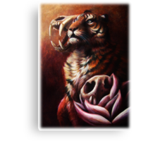 Life and Death and Life - Tiger With Tiger Skulls and Lotus Flowers Canvas Print