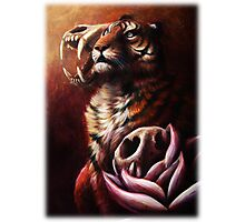 Life and Death and Life - Tiger With Tiger Skulls and Lotus Flowers Photographic Print