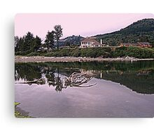 Homes above the river Canvas Print