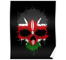 Chaotic Kenyan Flag Splatter Skull Poster