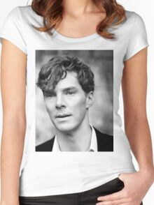 Benedict Cumberbatch black and white Women's Fitted Scoop T-Shirt