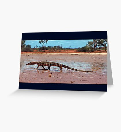 Perentie on the clay pan Greeting Card