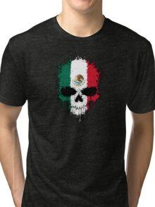 Chaotic Mexican Flag Splatter Skull Tri-blend T-Shirt