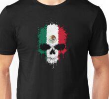 Chaotic Mexican Flag Splatter Skull Unisex T-Shirt