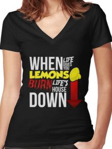 When Life Gives You Lemmons Women's Fitted V-Neck T-Shirt