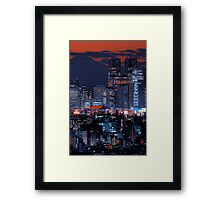 Twilight in Tokyo & Mount Fuji decided to put in an appearance Framed Print