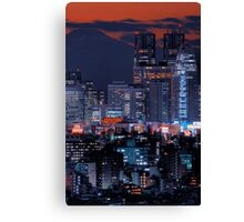 Twilight in Tokyo & Mount Fuji decided to put in an appearance Canvas Print