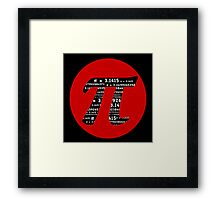 Pi Day graphic in red and black  Framed Print