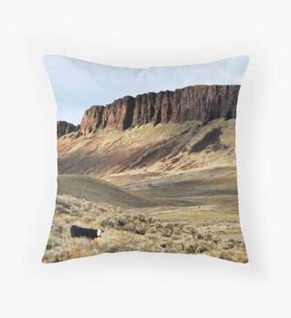 Lonesome Cow Throw Pillow