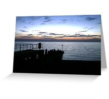 Aberystwyth Pier at sunset Greeting Card