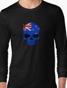 Chaotic New Zealand Flag Splatter Skull Long Sleeve T-Shirt