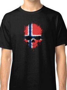 Chaotic Norwegian Flag Splatter Skull Classic T-Shirt