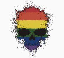 Chaotic Gay Pride Rainbow Flag Splatter Skull One Piece - Long Sleeve