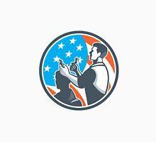 Barber Scissors Comb Cutting USA Flag Retro Unisex T-Shirt