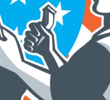 Barber Scissors Comb Cutting USA Flag Retro Sticker