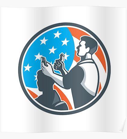 Barber Scissors Comb Cutting USA Flag Retro Poster