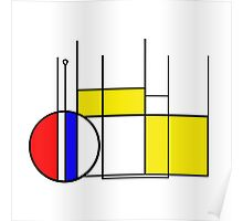 Modern Lines and Colors - Red Blue Yellow Black White Geometric Poster
