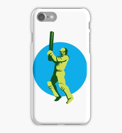 Cricket Player Batsman Batting Circle Retro iPhone Case/Skin