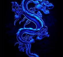 Asian Blue Dragon Pattern by HavenDesign