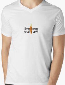 live long eat raw (black font, large logo) Mens V-Neck T-Shirt