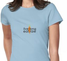 live long eat raw (black font, large logo) Womens Fitted T-Shirt
