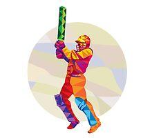 Cricket Player Batsman Batting Low Polygon by patrimonio