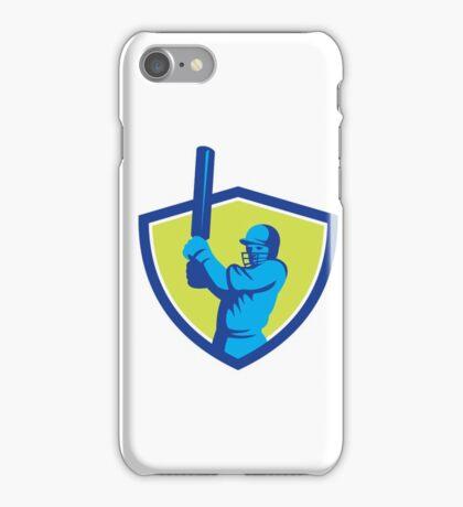 Cricket Player Batsman Batting Shield Retro iPhone Case/Skin
