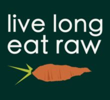 live long, eat raw (white font crooked carrot) T-Shirt