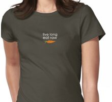 live long, eat raw (white font crooked carrot) Womens Fitted T-Shirt
