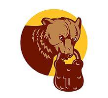 Grizzly Bear Biting Padlock Circle Retro by patrimonio