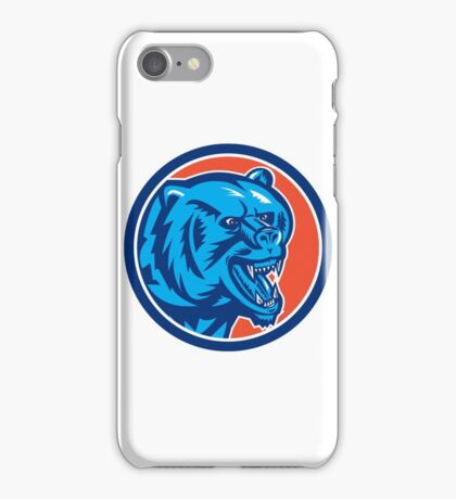 Grizzly Bear Angry Head Circle Retro iPhone Case/Skin